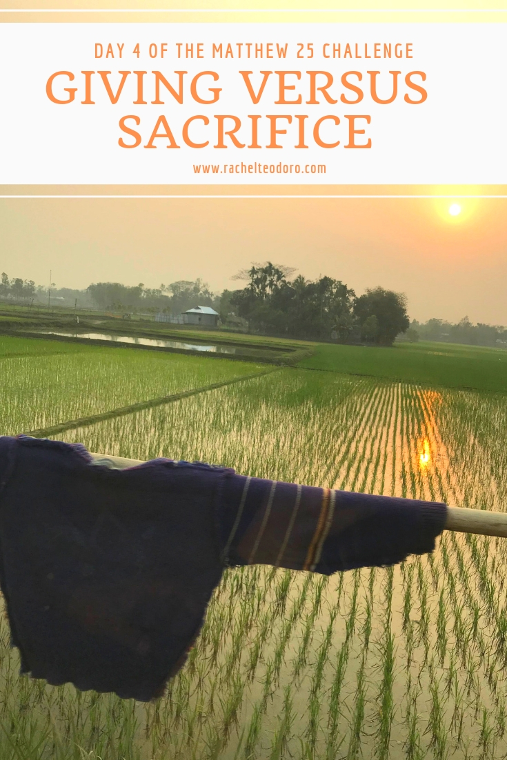 giving versus sacrifice rice field in Bangladesh