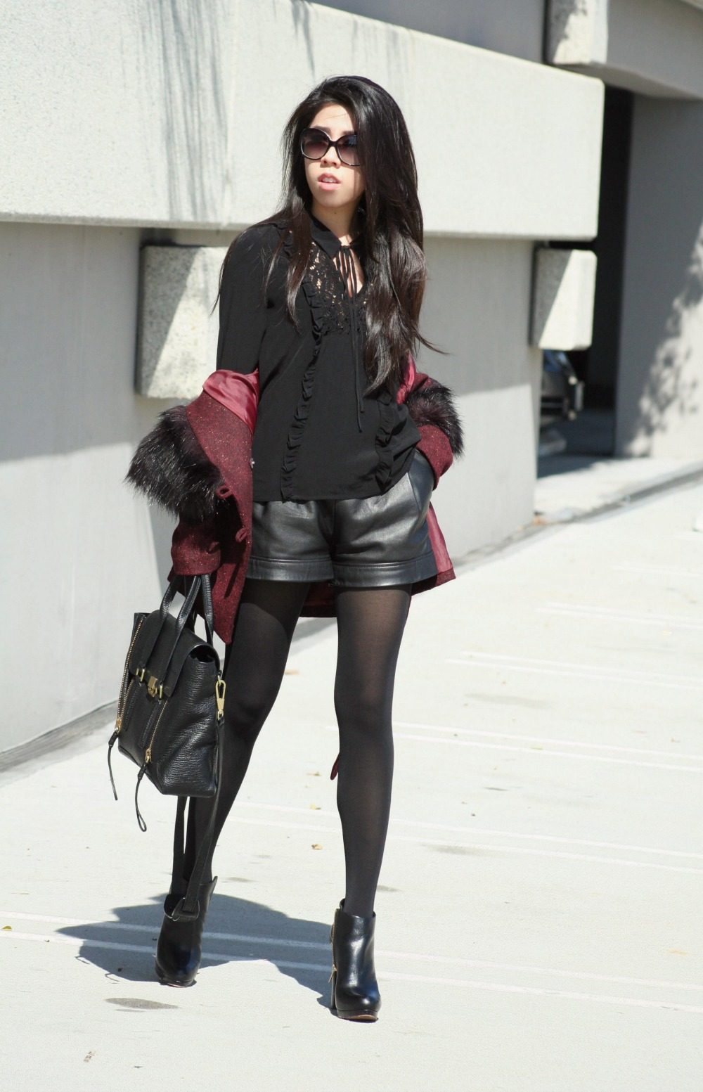 What to Wear with a Short Faux Fur Burgundy Jacket_Adrienne Nguyen_Invictus