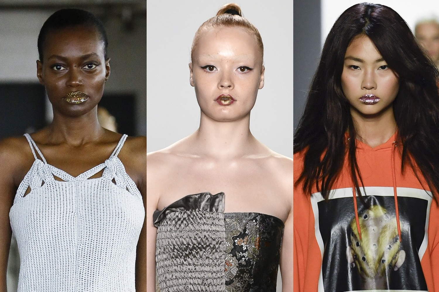 Makeup Looks at  Eckhaus Latta, Kim Shui, Jeremy Scott fashion runway shows