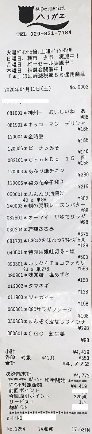 スーパーマーケット ハリガエ 2020/4/11 のレシート