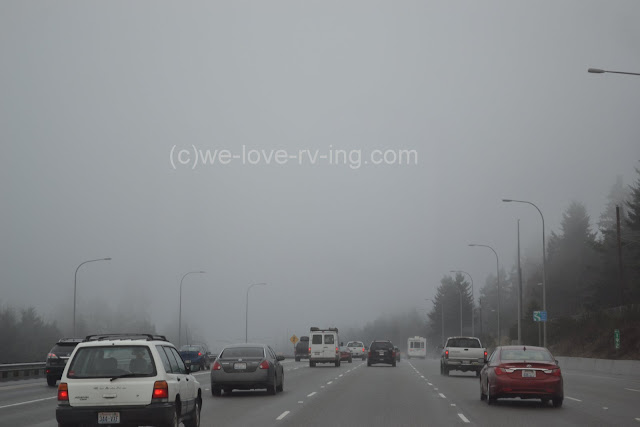 Heavy fog and slow traffic on I-5 at Everett, WA