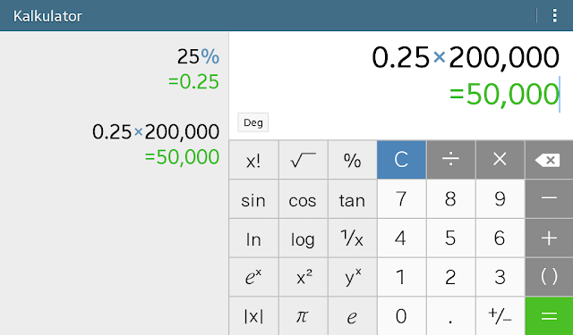 cara menghitung persen di kalkulator citizen