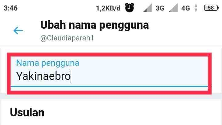 Nama username Twitter