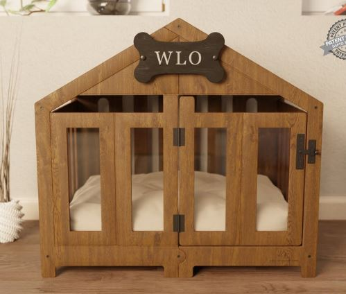 personalized stylish wooden dog crate for rustic home decor