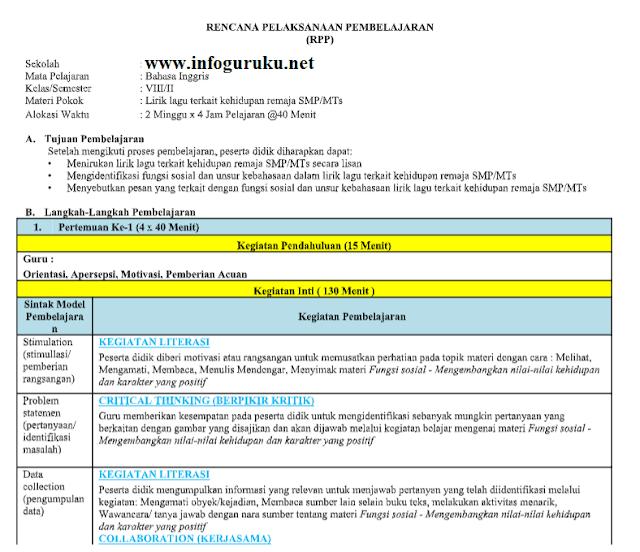 Download Rpp Bahasa Inggris 1 Satu Lembar Smp Kelas 8 Tahun 2020 Infoguruku
