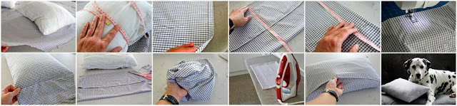Step-by-step DIY instructions for how to make an envelope cushion cover using old shirts.