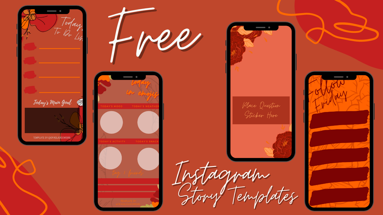 graphic shows 4 or the 5  free instagram story templates available