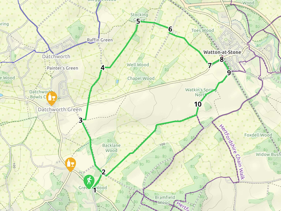 Walk 43: Datchworth Loop Created on Map Hub by Hertfordshire Walker Elements © Thunderforest © OpenStreetMap contributors Note: There is a larger, more-detailed map embedded at the end of these directions