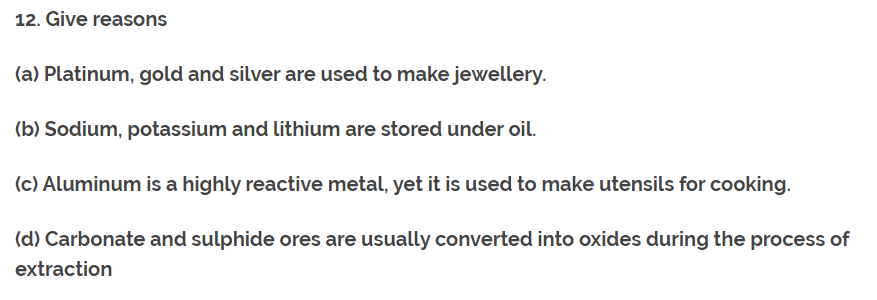 Class 10th Ch-3 Ncert Question Answer (Metals and Non-Metals). 10