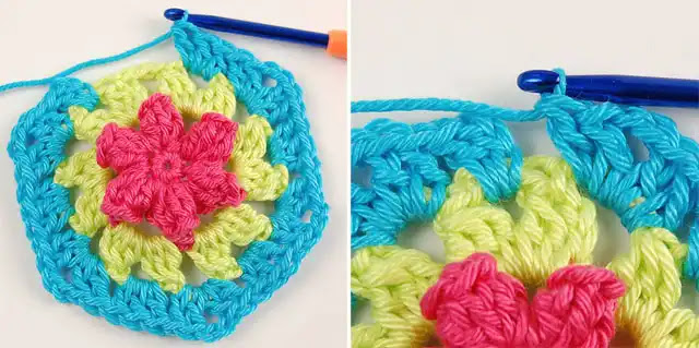 Hexágono floreado a crochet