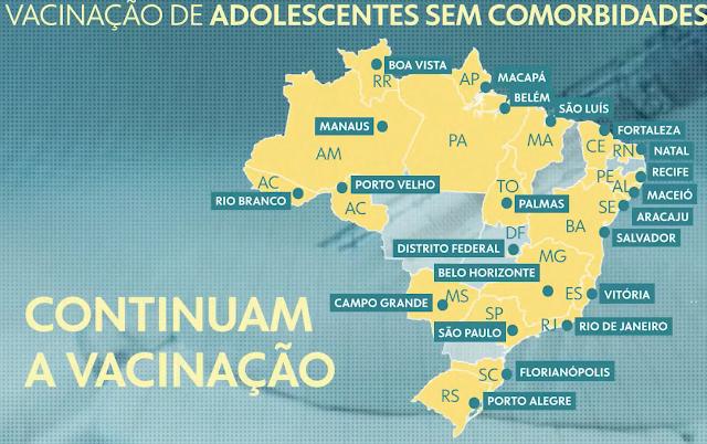 21 capitais e DF ignoram orientação do Ministério da Saúde e manter vacinação de adolescentes sem comorbidades
