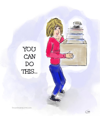 """This illustration shows a woman carrying a srange and heavy load and says """"You Can Do It"""""""