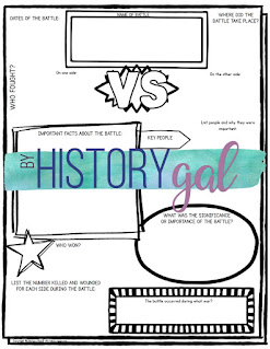 Thumbnail image of Battles Graphic Organizer by History Gal