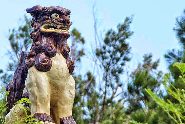 statue, shisa, guarding  bridge