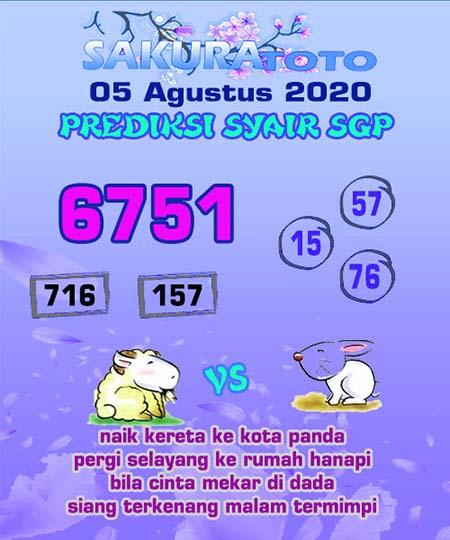 Prediksi Sakuratoto SGP Rabu 05 Agustus 2020
