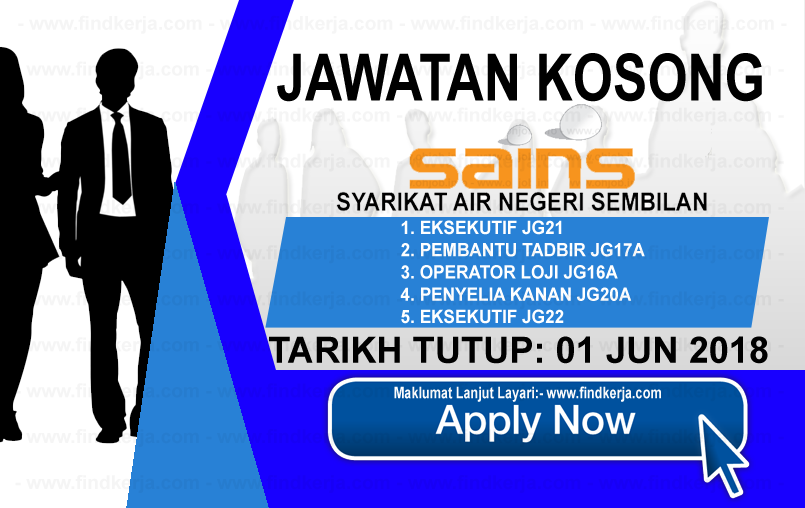 Jawatan Kerja Kosong SAINS - Syarikat Air Negeri Sembilan logo www.findkerja.com jun 2018