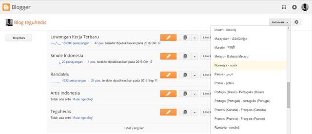 Cara mengganti Bahasa dan Mengatur Zona Waktu di Blogger.com Dengan Mudah