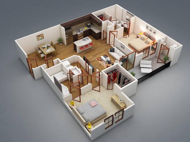 Contoh Gambar 3D Desain Rumah Minimalis Modern Terbaru 1