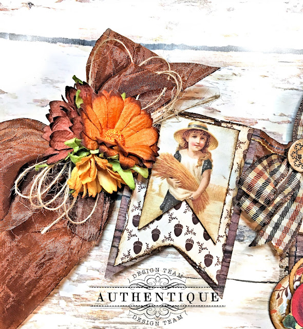 Authentique Pleasant Thanksgiving Banner Tutorial by Kathy Clement Photo 07