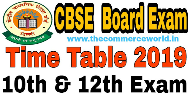 CBSE Board Exam Time Table2019- Class Xth & XIIth