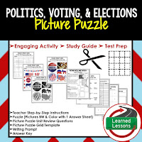 Politics, Voting, Elections, Civics Test Prep, Civics Test Review, Civics Study Guide, Civics Interactive Notebook Inserts, Civics Picture Puzzles