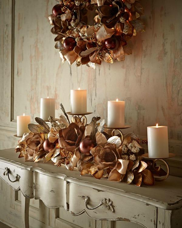 Arranjo com velas de Natal