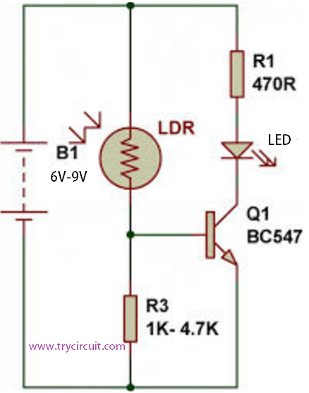 Automatic Light Using LDR (Light Sensor/Dark Sensor) | TryCircuit