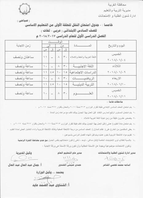 بالصور جداول امتحانات الترم الاول حافظة الغربيه 2018 جميع المراحل (ابتدائيه واعداديه وثانويه)