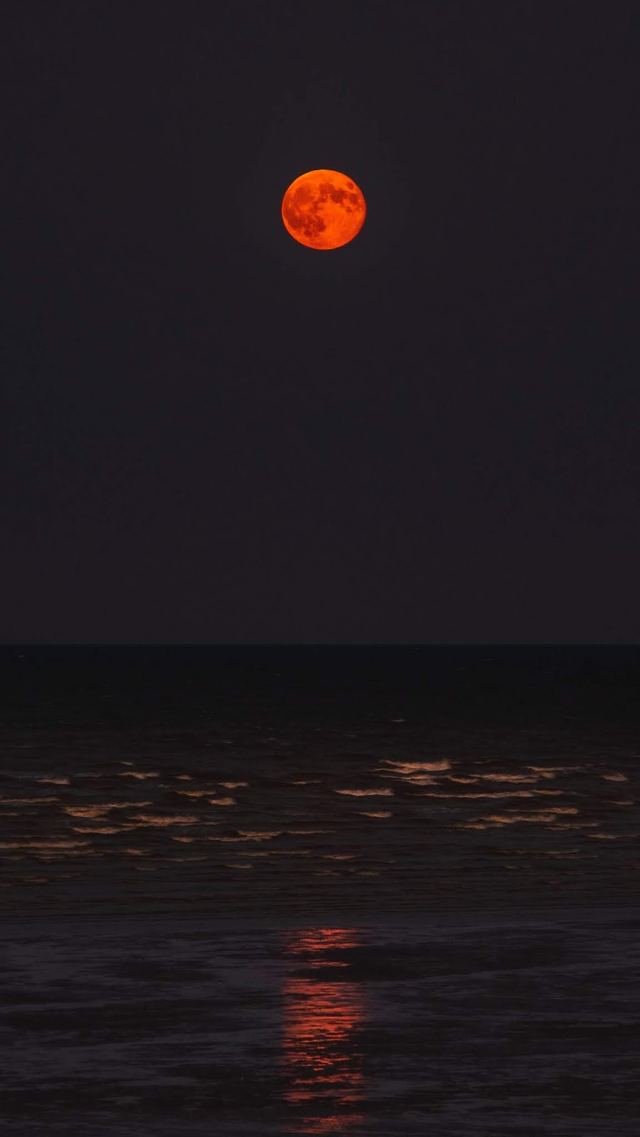 Red moon on the beach