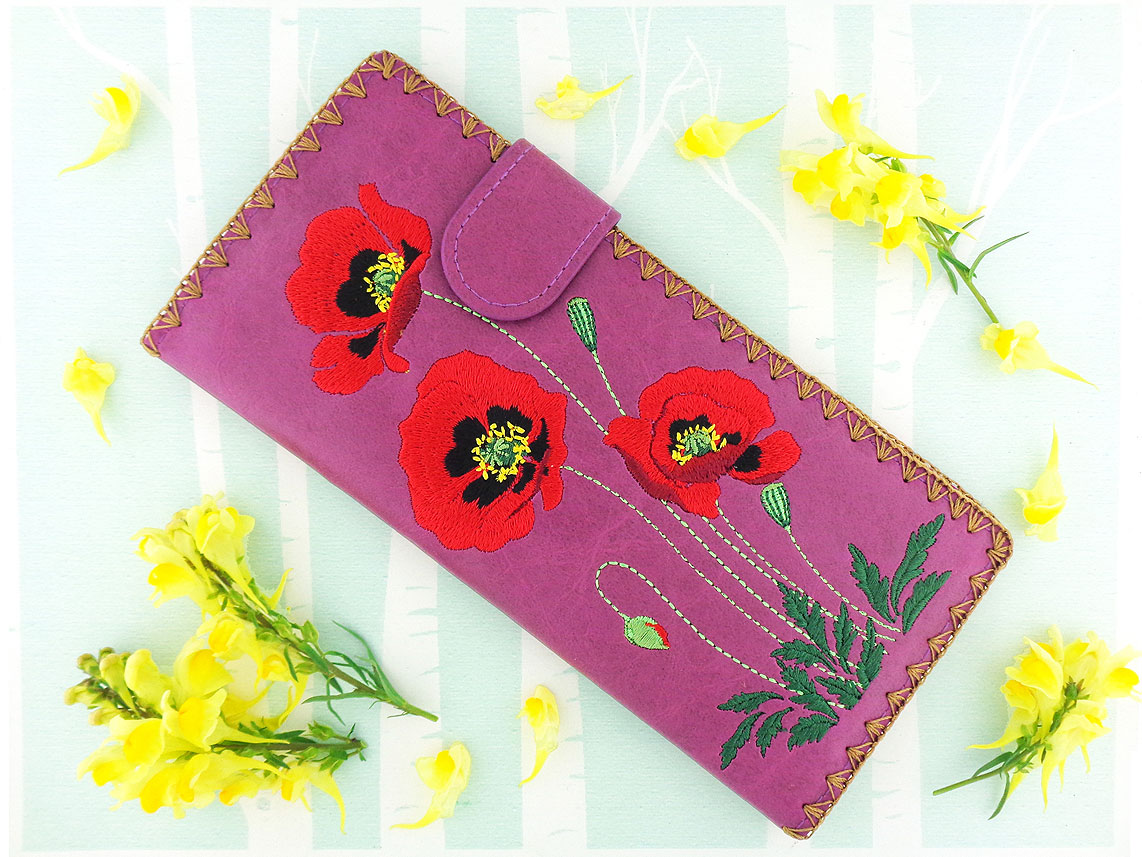 LAVISHY wholesale fashion accessories-Poppy flower embroidered flat wallet