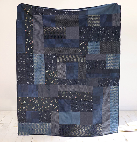 Stripy Quilt designed by Live art gallery fabrics, featuring Denim Collection