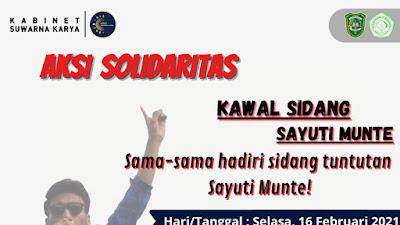 Kawal Sidang Shayuti Munte, Mahasiswa Gelar Aksi Solidaritas