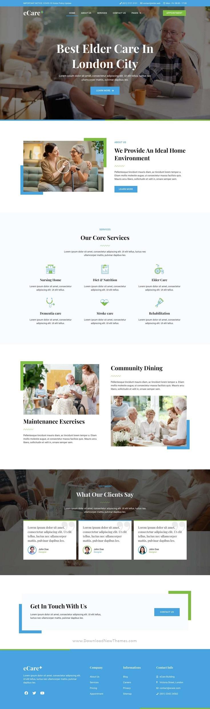 Elderly & Health Care Elementor Template Kit