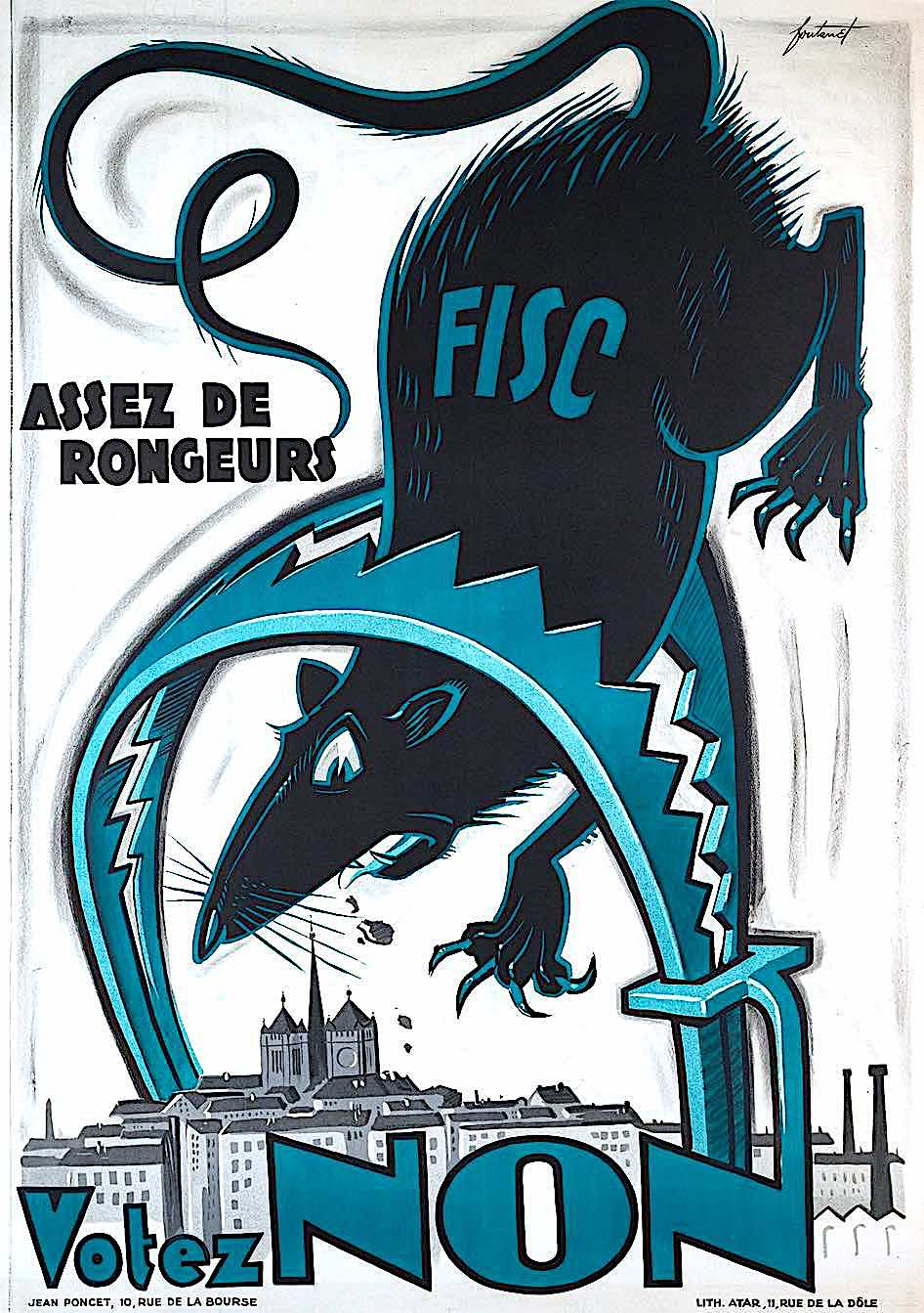 Noel Fontanet, a Swiss poster, Enough tax rodents, showing a rat in a trap