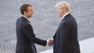 Presidents Emmanuel Macron and Donald Trump (Photo Credit: Dominique Pineiro/Joint Chiefs) Click to Enlarge.