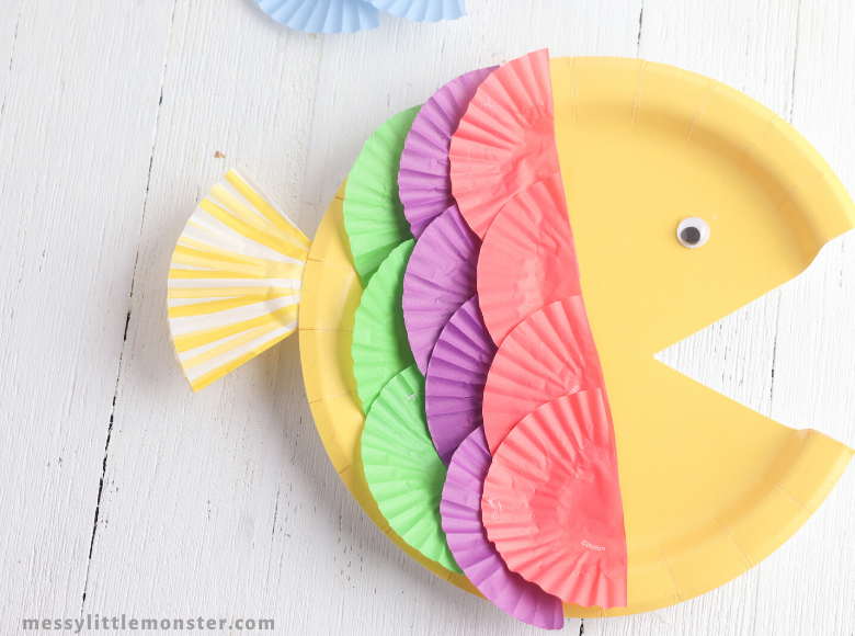 cupcake liner and paper plate fish craft