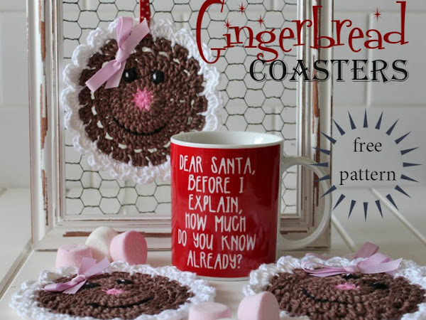 {Free Crochet Pattern} Gingerbread Coasters