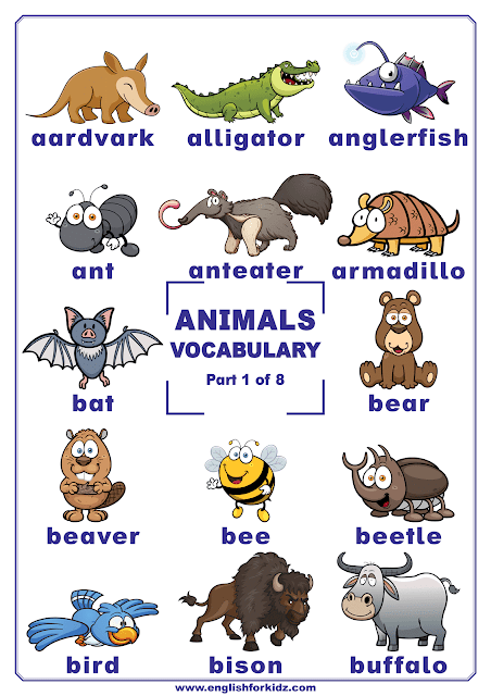 Animals vocabulary - printable poster for English learners