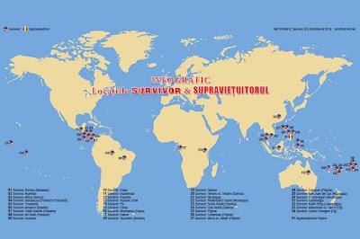 Infografic cu localizarea geografică a tuturor locațiilor în care au fost filmate cele 34 de sezoane Survivor plus primul sezon Supraviețuitorul.