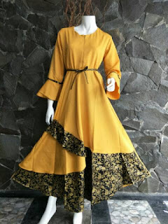 Gamis Batik Solo Dilan Kuning