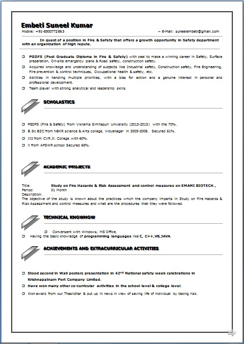 RESUME BLOG CO Resume Sample of PGDFS (Fire  Safety) working as