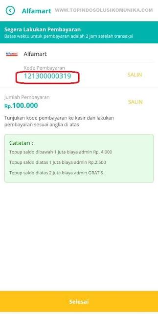 kode pembayaran Alfamart Topindopay
