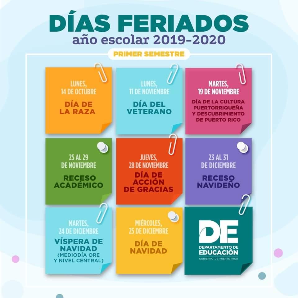 Escuela Santiago Iglesias Pantin Guaynabo P R Recordatorio Este Lunes 14 De Octubre Se Celebra El Dia De La Raza Por Lo Tanto No Hay Clases Para Ver El Calendario Escolar Completo