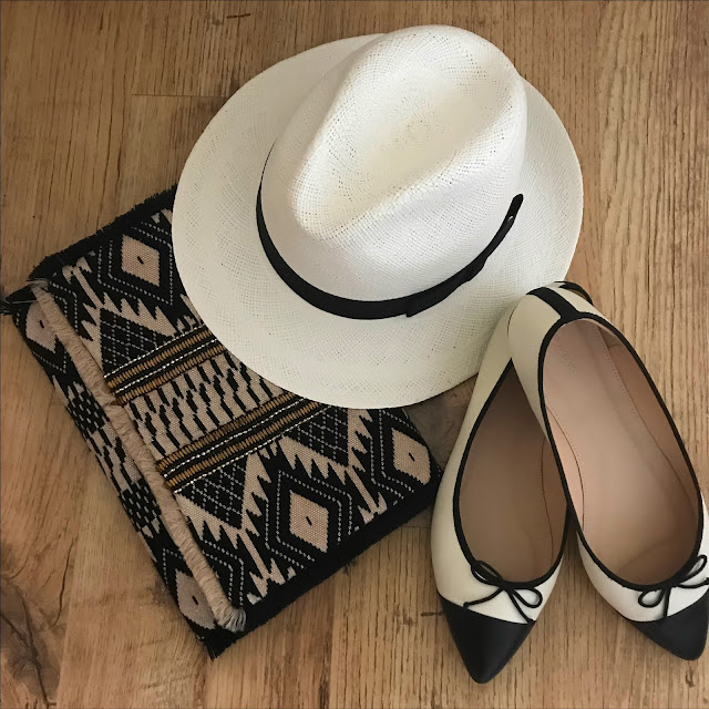 My Midlife fashion, marks and spencer handwoven panama hat, marks and spencer aztec print hand embellished clutch bag, j crew two tone pointed flat ballet pumps