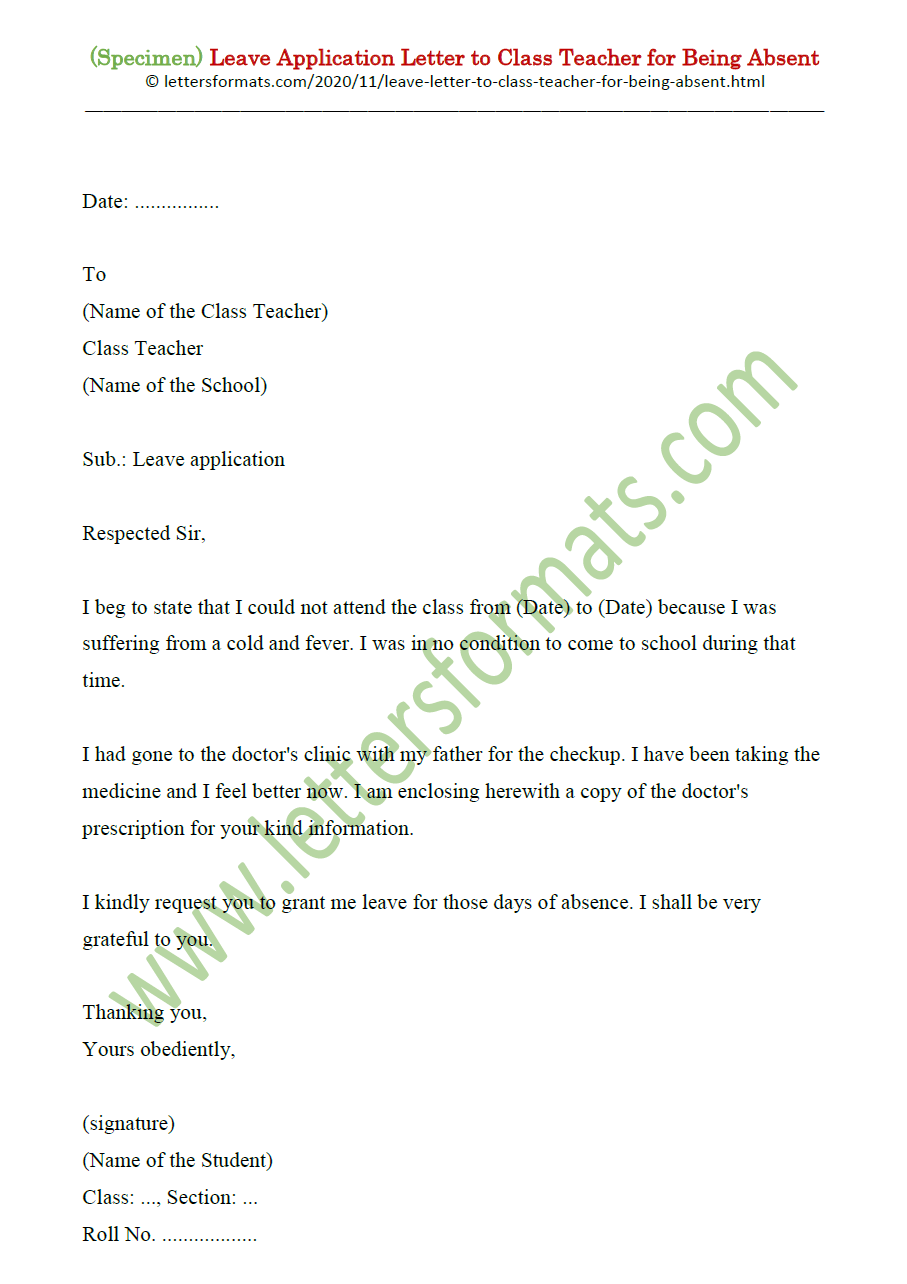 Format of Letter to Class Teacher for Being Absent from School