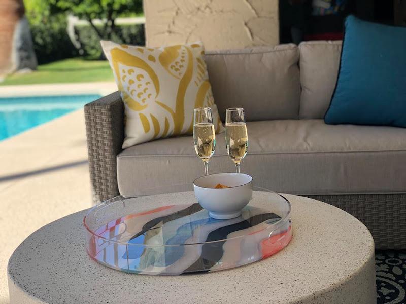 Poolside champagne celebration