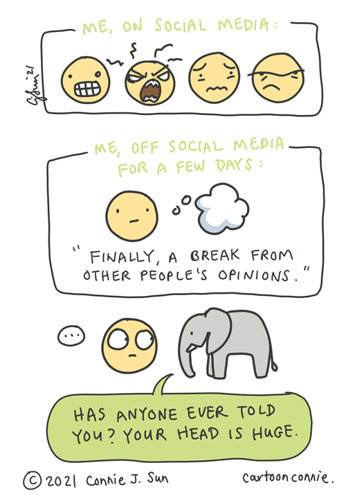 Cartoon about social media burnout and trying to recharge creative batteries, illustration by Connie Sun, cartoonconnie