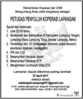 Open Rekruitment Lampung Terbaru Dari Kementerian Koperasi dan UKM April 2017