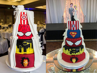 Spiderman Ironman Batman Captain America Superman Wedding Cake