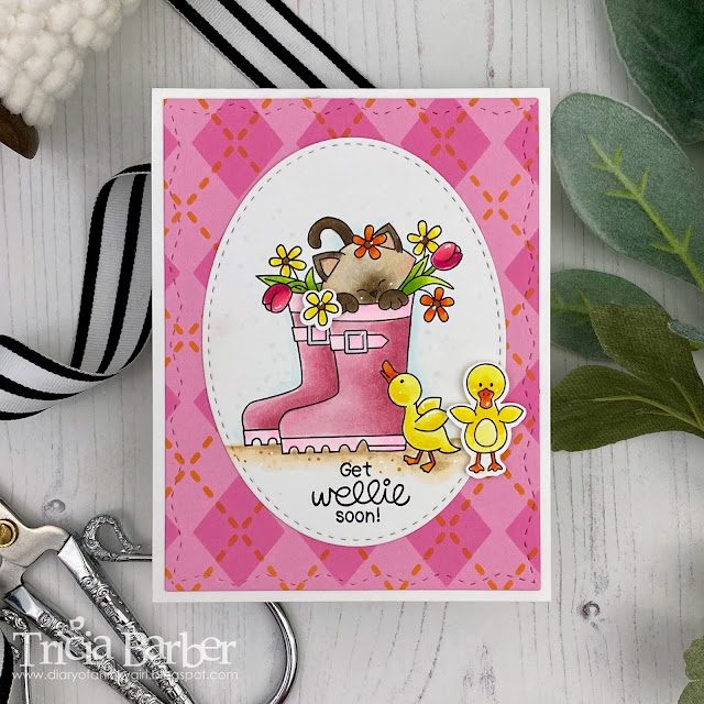 Get Wellie Soon by January Guest Designer Tricia Barber | Newton's Rain Boots Stamp Set and Argyle Stencil set by Newton's Nook Designs
